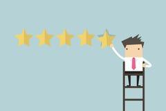 Επιχειρηματίας που δίνει την πέντε αστέρων εκτίμηση ελεύθερη απεικόνιση δικαιώματος