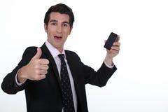 Επιχειρηματίας που λαμβάνει τις καλές ειδήσεις στοκ φωτογραφίες