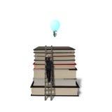 Επιχειρηματίας που αναρριχείται στα βιβλία σωρών με την ξύλινα σκάλα και το growi Στοκ Εικόνες