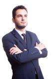 Επιχειρηματίας που ανατρέχει στο άσπρο υπόβαθρο Στοκ Εικόνες
