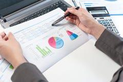 Επιχειρηματίας που αναλύει την έκθεση, έννοια επιχειρησιακής απόδοσης Στοκ φωτογραφίες με δικαίωμα ελεύθερης χρήσης