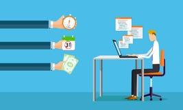 Επιχειρηματίας που απασχολείται στις σε απευθείας σύνδεση κάνοντας αποδοχές στην επιχείρηση διανυσματική απεικόνιση