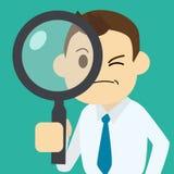 Επιχειρηματίας που βρίσκει την εργασία με πιό magnifier διανυσματική απεικόνιση