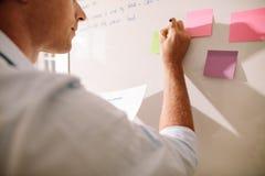 Επιχειρηματίας που γράφει στις κολλώδεις σημειώσεις που τοποθετούνται στο λευκό πίνακα στοκ φωτογραφία με δικαίωμα ελεύθερης χρήσης