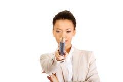 Επιχειρηματίας που δείχνει σε σας με το μεγάλο μολύβι Στοκ εικόνες με δικαίωμα ελεύθερης χρήσης