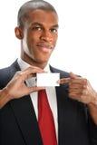 Επιχειρηματίας που δείχνει στην κενή κάρτα Στοκ Φωτογραφία