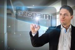Επιχειρηματίας που δείχνει τη λέξη antispam Στοκ Εικόνες