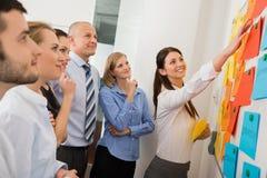 Επιχειρηματίας που δείχνει τις ετικέτες σε Whiteboard Στοκ Φωτογραφίες
