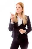 Επιχειρηματίας που δείχνει το δάχτυλο που απομονώνεται στο άσπρο υπόβαθρο Στοκ Φωτογραφία