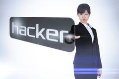 Επιχειρηματίας που δείχνει το χάκερ λέξης Στοκ Εικόνα