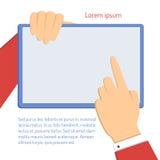 Επιχειρηματίας που δείχνει το lap-top Απεικόνιση αποθεμάτων