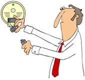 Επιχειρηματίας που εγκαθιστά μια μπαταρία διανυσματική απεικόνιση