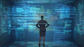 Επιχειρηματίας που εξετάζει τη φουτουριστική οθόνη διανυσματική απεικόνιση