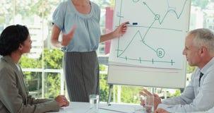 Επιχειρηματίας που εξηγεί τη γραφική παράσταση στο whiteboard φιλμ μικρού μήκους