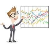 Επιχειρηματίας που εξηγεί τις περίπλοκες στατιστικές διανυσματική απεικόνιση