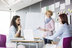 Επιχειρηματίας που εξηγεί το διάγραμμα πιτών στους συναδέλφους στο δημιουργικό γραφείο Στοκ φωτογραφία με δικαίωμα ελεύθερης χρήσης