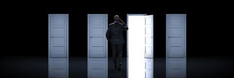 Επιχειρηματίας που επιλέγει τη σωστή πόρτα τρισδιάστατος διανυσματική απεικόνιση
