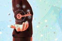 Επιχειρηματίας που εργάζεται με το κλειδί της επιχειρησιακής επιτυχίας σύγχρονο vir Στοκ εικόνα με δικαίωμα ελεύθερης χρήσης