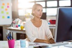 Επιχειρηματίας που εργάζεται στον υπολογιστή Στοκ εικόνα με δικαίωμα ελεύθερης χρήσης