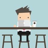Επιχειρηματίας που εργάζεται στο lap-top στο φραγμό καφέ διανυσματική απεικόνιση