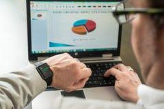 Επιχειρηματίας που ελέγχει τις τιμές αγοράς αποθεμάτων σε δικοί του Στοκ φωτογραφία με δικαίωμα ελεύθερης χρήσης