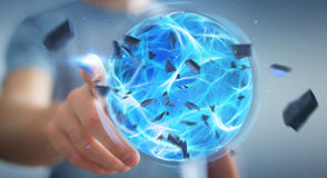 Επιχειρηματίας που δημιουργεί μια σφαίρα δύναμης με την τρισδιάστατη απόδοση χεριών του Στοκ εικόνα με δικαίωμα ελεύθερης χρήσης