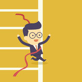Επιχειρηματίας που διασχίζει τη γραμμή τερματισμού διανυσματική απεικόνιση