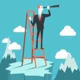 Επιχειρηματίας που κατασκοπεύει στους ανταγωνιστές ελεύθερη απεικόνιση δικαιώματος