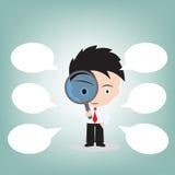 Επιχειρηματίας που κοιτάζει μέσω μιας ενίσχυσης - γυαλί για την έρευνα και την ομιλία φυσαλίδων, διανυσματική απεικόνιση στο επίπ Στοκ φωτογραφία με δικαίωμα ελεύθερης χρήσης