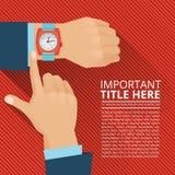 Επιχειρηματίας που κοιτάζει στο ρολόι χεριών Διανυσματική αφίσα απεικόνιση αποθεμάτων
