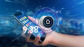 Επιχειρηματίας που κρατά ένα κουμπί μιας έξυπνης εγχώριας αυτοματοποίησης app Στοκ Εικόνα