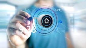Επιχειρηματίας που κρατά ένα κουμπί μιας έξυπνης εγχώριας αυτοματοποίησης app - τρισδιάστατης Στοκ Εικόνες