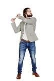 Επιχειρηματίας που κρατά ένα lap-top υπερυψωμένο και που κραυγάζει Στοκ Εικόνα