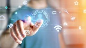 Επιχειρηματίας που κρατά να περιβάλει εικονιδίων επαφών από app και κοινωνικός Στοκ Εικόνα