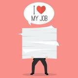 Επιχειρηματίας που κρατά πολλά έγγραφα με τη λέξη Ι αγάπη η εργασία μου Στοκ εικόνα με δικαίωμα ελεύθερης χρήσης