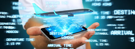Επιχειρηματίας που κρατά την πτήση του απεικόνιση αποθεμάτων