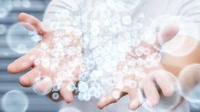 Επιχειρηματίας που κρατά την τρισδιάστατη σφαίρα δικτύων δεδομένων απόδοσης στο χέρι του Στοκ φωτογραφία με δικαίωμα ελεύθερης χρήσης
