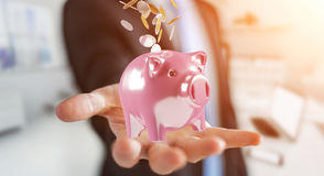 Επιχειρηματίας που κρατά τη piggy τράπεζα με το πετώντας πηγαίνοντας εσωτερικό νομισμάτων τρισδιάστατο Στοκ Φωτογραφίες