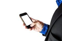 Επιχειρηματίας που κρατά το έξυπνο τηλέφωνο με τη διαστημική, εκλεκτική εστίαση αντιγράφων, που απομονώνεται στο άσπρο υπόβαθρο Στοκ φωτογραφία με δικαίωμα ελεύθερης χρήσης