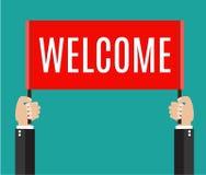 Επιχειρηματίας που κρατά το ευπρόσδεκτο σημάδι απεικόνιση αποθεμάτων