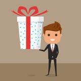 Επιχειρηματίας που κρατά το μεγάλο κιβώτιο δώρων με την κορδέλλα Έκπτωση, πωλήσεις διανυσματική απεικόνιση