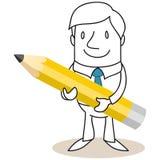 Επιχειρηματίας που κρατά το τεράστιο μολύβι Στοκ Εικόνες