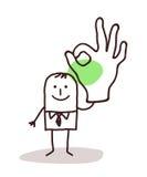Επιχειρηματίας που κρατά ψηλά ένα ΕΝΤΑΞΕΙ χέρι σημαδιών απεικόνιση αποθεμάτων