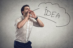Επιχειρηματίας που κραυγάζει για την ιδέα Στοκ Εικόνες