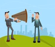 Επιχειρηματίας που κραυγάζει με megaphone ελεύθερη απεικόνιση δικαιώματος