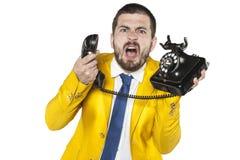 0 επιχειρηματίας που κραυγάζει στο τηλέφωνο, αστείο του προσώπου expressio Στοκ εικόνα με δικαίωμα ελεύθερης χρήσης
