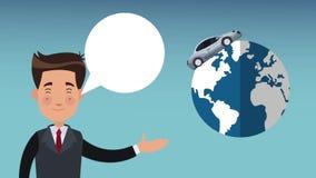 Επιχειρηματίας που μιλά με το αυτοκίνητο γύρω από την παγκόσμια HD ζωτικότητα απόθεμα βίντεο