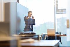 Επιχειρηματίας που μιλά σε ένα κινητό τηλέφωνο στο εταιρικό γραφείο, που δείχνει τη κάμερα Στοκ φωτογραφία με δικαίωμα ελεύθερης χρήσης
