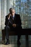 Επιχειρηματίας που μιλά στο κινητό τηλέφωνο Στοκ Φωτογραφία