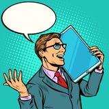 Επιχειρηματίας που μιλά στο τηλέφωνο με μια πολύ μεγάλη οθόνη, ταμπλέτα τεχνική συσκευών χιούμορ απεικόνιση αποθεμάτων